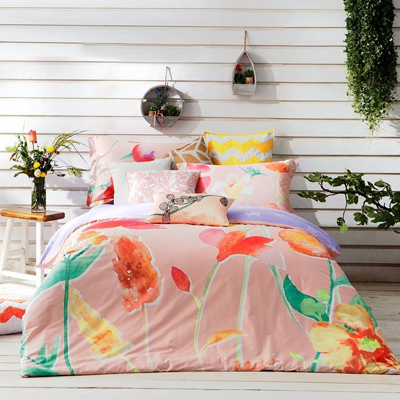 Pink Red and Green Lily Flower Botany Ink Drawing Country Chic Rustic Style Girly Themed 100% Cotton Damask Full, Queen Size Bedding Sets