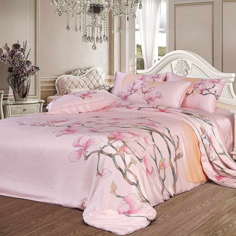 Girls Pink Peach Blossom Print Rustic Country Cute Girly Themed 25 Momme Seamless 100% Mulberry Silk Satin Full, Queen Size Bedding Sets
