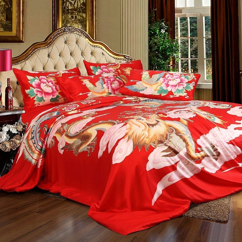 Red Pink and Rust Orange Dragon and Phoenix Print Oriental Style Noble Excellence Luxury Chinese Silk Satin Full, Queen Size Bedding Sets