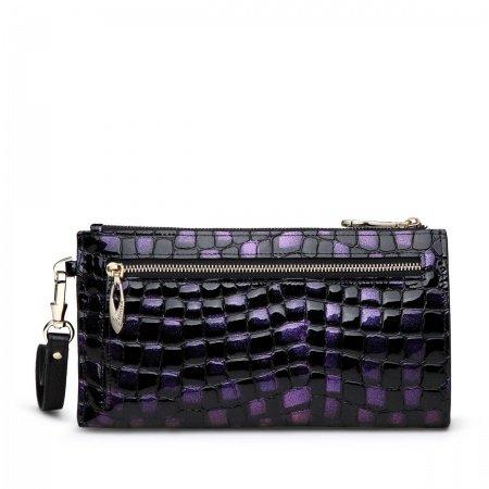 Black Purple Cowhide Leather Embossed Crocodile Evening Clutch Purse Vogue Casual Party Handle Bag Socialite Lady Long Wallet