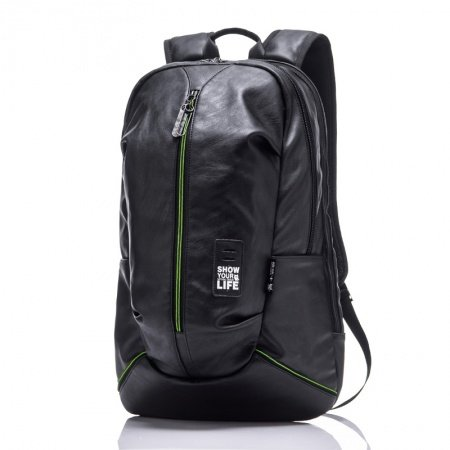 Water-proof Black Faux Leather with Green Trim Oversized Men Travel Backpack Luxury Trendy Preppy Style Boys School Book Bag