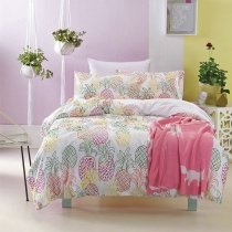 Hot Pink Yellow and Green Pineapple Print Vintage Shabby Chic Cute Style 100% Cotton Twin, Full Size Bedding Sets for Girls