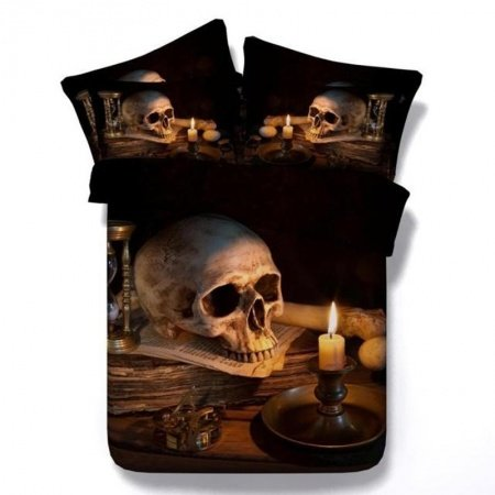 Brown and Black Vintage Skull Print Shabby Chic 3D Design Modal Fiber Full, Queen Size Bedding Sets for Adult