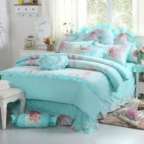 Tiffany Blue and Pink Girls Princess Style Elegant Feminine Feel Patchwork Plaid Ruched 100% Cotton Twin, Full, Queen Size Bedding Sets