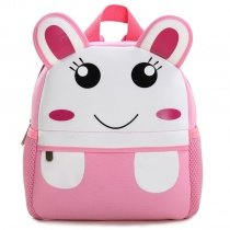 Personalized Cute Animal Rabbit-shaped Zipper Toddler School Backpack White Pink Durable Stylish Kids Book Bag for Girls Boys