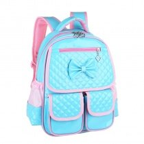 Durable Turquoise Pink Embossed Patent Leather Cute Bow Girls School Backpack Stylish Sewing Pattern Pupil Preppy Diamond Book Bag