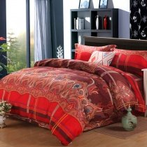 Chocolate and Red Western Paisley Moroccan Style Vintage Bohemian Chic 100% Brushed Tencel Full, Queen Size Bedding Sets