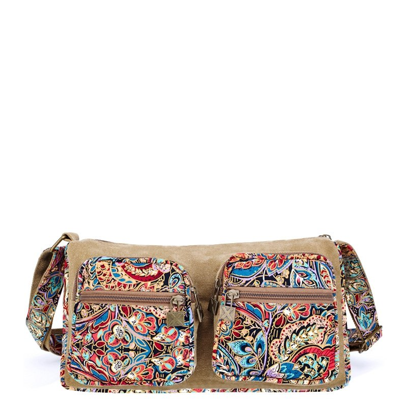 Vintage Durable Canvas Zipper Casual Lady Messenger Bag Stylish Red Blue Camel Brown Bohemian Country Floral Crossbody Shoulder Bag