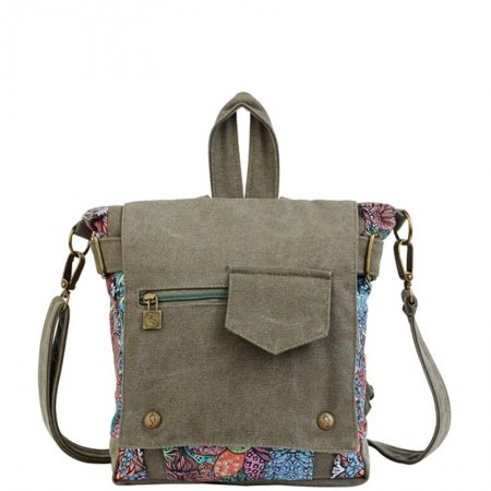 Durable Taupe Canvas Girls Preppy School Book Bag Fashion Casual Travel Hiking Flap Backpack Simply Chic Floral Crossbody Shoulder Bag