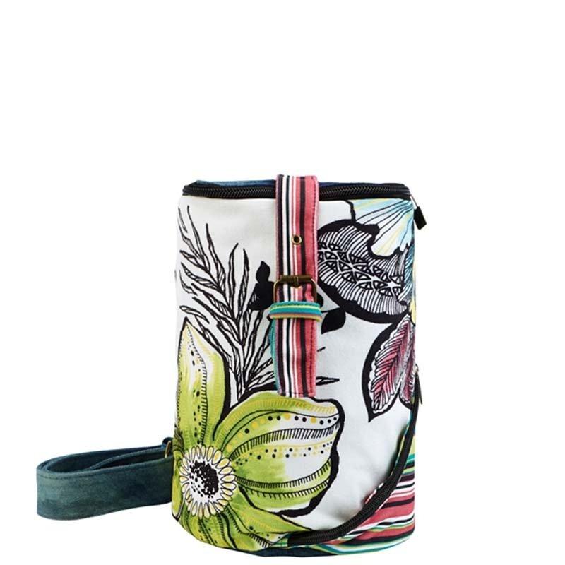 Colorful Jean Durable Elegant Lady Bucket-shaped Crossbody Sling Chest Bag Stylish Hawaiian Floral and Stripe Casual Small Bosom Bag