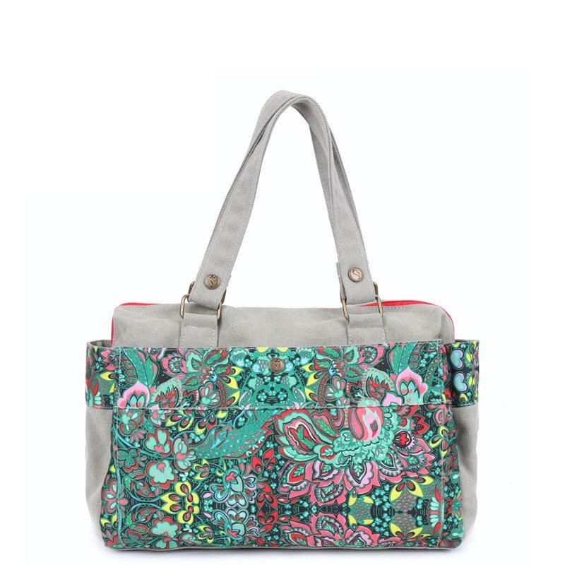 Colorful Canvas Sewing Pattern Casual Elegant Lady Large Crossbody Shoulder Travel Bag Vintage Bohemian Western Floral Stylish Tote