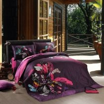 Eggplant Purple Black and Pink Flower Print Abstract Design Elegant Luxury Reversible 100% Cotton Damask Full, Queen Size Bedding Sets