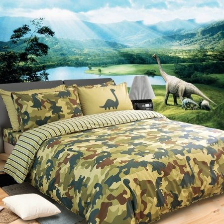 Boys Green and Cream Army Camouflage and Dinosaur Pattern Jungle Animal Shabby Chic 100% Cotton Twin, Full, Queen Size Bedding Sets