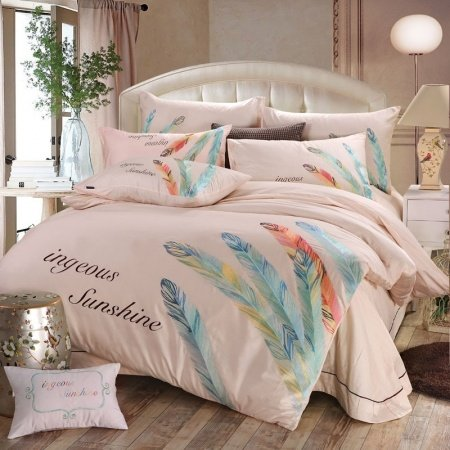 Pale Pink Peacock Blue and Orange Feather Pattern Monogrammed Hipster Style Personalized 100% Cotton Full, Queen Size Bedding Sets