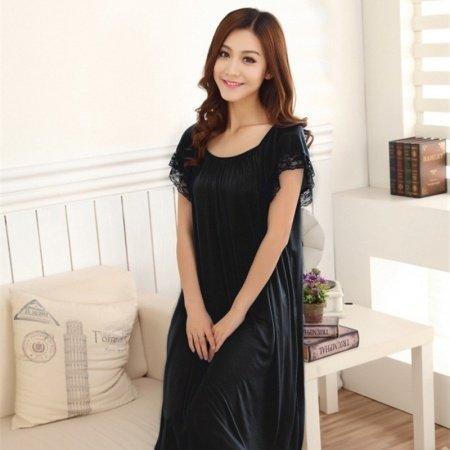 Black Fashion Luxury Solid Color 1 Piece 100% Polyester Lace Midi Short Sleeve Crewneck Gown 3XL 4XL Women Plus Size Pajamas