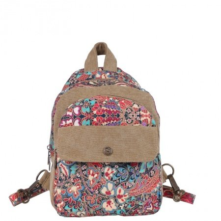 Stylish Gorgeous Canvas Casual Lady Small Crossbody Sling Chest Bag Colorful Vintage Bohemian Western Floral Travel Hiking Backpack