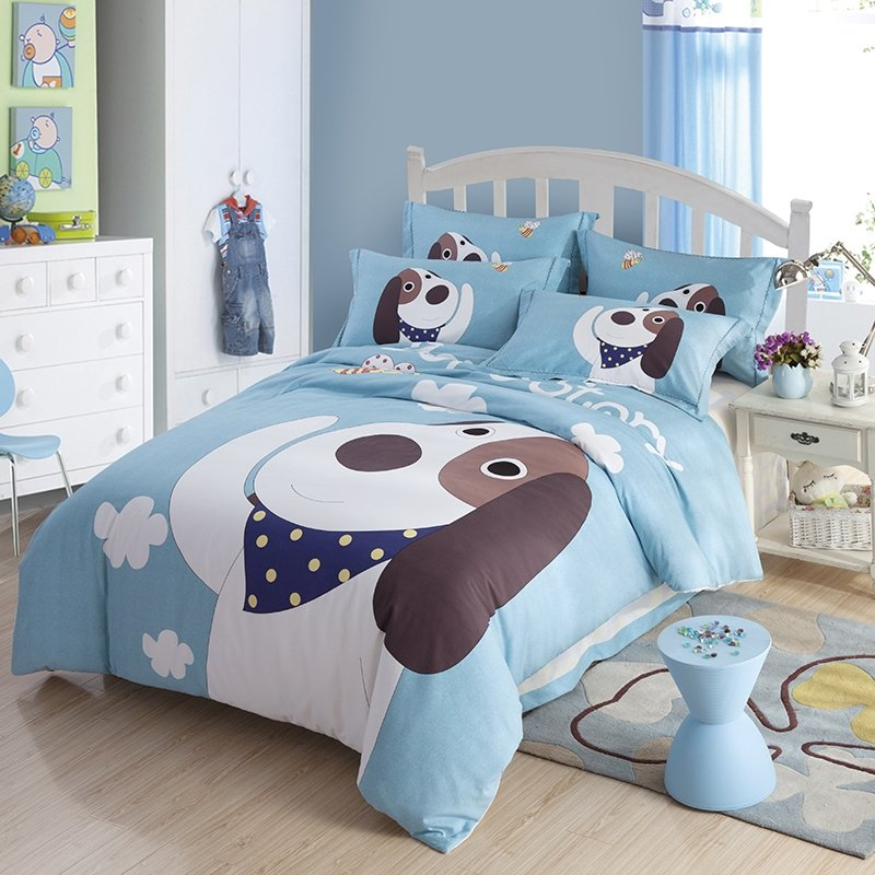 Boys Pale Blue Gray and White Dog Print Farm Friend Cartoon Themed Modern Chic 100% Brushed Cotton Full, Queen Size Bedding Sets