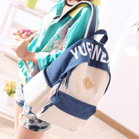 Durable Canvas Senior Girly Preppy School Book Bag Trend Light Pink Dark Blue Pinstripe Hiking Travel Girls 14 Inch Laptop Backpack