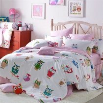 Girls Bright Colorful Night Owl Print Animal Themed Stylish Cute Style 100% Cotton Twin, Full, Queen Size Bedding Sets