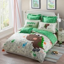 Funky Dinosaur Print Jungle Animal Safari Themed Abstract Design Soft Cotton Twin, Full Size Bedding Sets for Boys, Girls, Kids