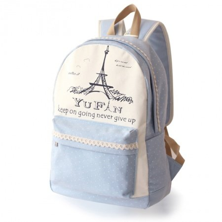 Personalized Light Blue White Eiffel Tower Monogrammed Polka Dot Girls Preppy School Book Bag Durable Canvas Lace Travel Laptop Backpack