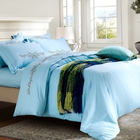 Luxury Aero Blue Pure Colored Country Chic Stylish Embroidered Design 100% Cotton Damask Full, Queen Size bedding Sets