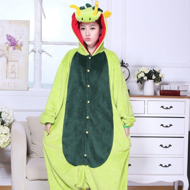 Green Dragon Animal Anime Cartoon Cosplay Rompers Onesies Hooded Halloween Christmas Costume Unisex Polyester Winter Pajamas