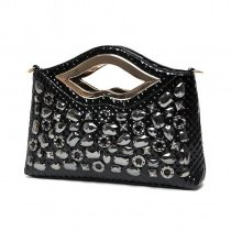 Gorgeous Black Patent Leather Embossed Snakeskin Casual Evening Party Bridal Clutch Trend Rhinestone Studded Women Crossbody Shoulder Bag