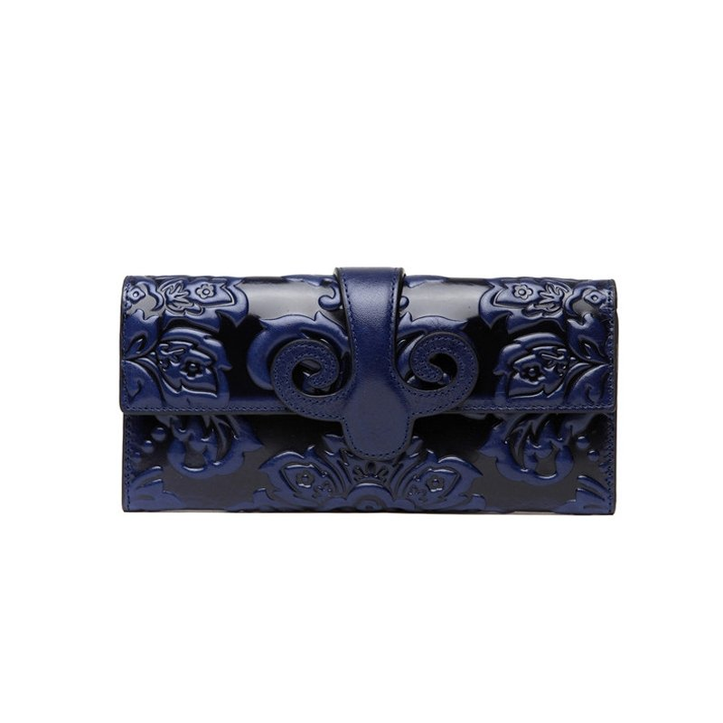 Personalized Bohemian Sapphire Blue Cowhide Leather Women Evening Party Clutch Vintage Embossed Western Floral Small Durable Flap Wallet