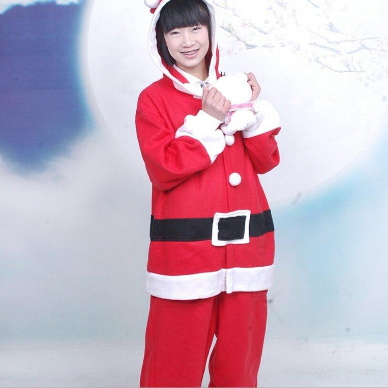 Red Santa Claus Pattern Polar Fleece Unisex Women Men 2pc Long Sleeve Cartoon Christmas Pajamas Free size