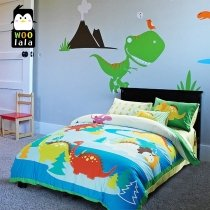 Blue Yellow and Red Jurassic Dinosaur Print Jungle Animal Cartoon Themed 100% Cotton Twin, Full Size Bedding Sets for Kids, Boys and Girls