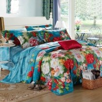 Bright Colorful Flower Garden Asian Inspired Spring Style Natural Lightweight Luxury Egyptian Cotton Full, Queen Size Bedding Sets