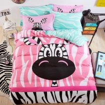 Black White and Pink Zebra Print Modern Chic Cute Style Cartoon Themed Abstract Design Girls 100% Cotton Twin, Full Size Bedding Sets