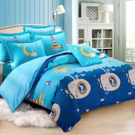 Boys Navy Blue Aqua and White Submarine Print Marine Life Nautical Themed Preppy Style 100% Cotton Twin, Full Size Bedding Sets