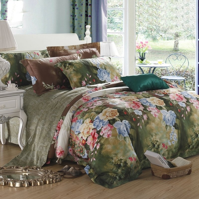 Dark Green Light Blue and Pink Flower Print Garden Images Antique Chic French Country 100% Egyptian Cotton Full, Queen Size Bedding Sets