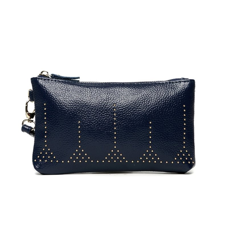 Dark Blue Distressed Genuine Cowhide Leather Lady Evening Clutch Wallet Gorgeous Rivet Studded Small Casual Party Coin Purse Wristlet