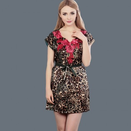 100% Mulberry Silk Leopard Print Rose Flower Lace Sexy Gorgeous Nightdress Girls Free Size Pajamas