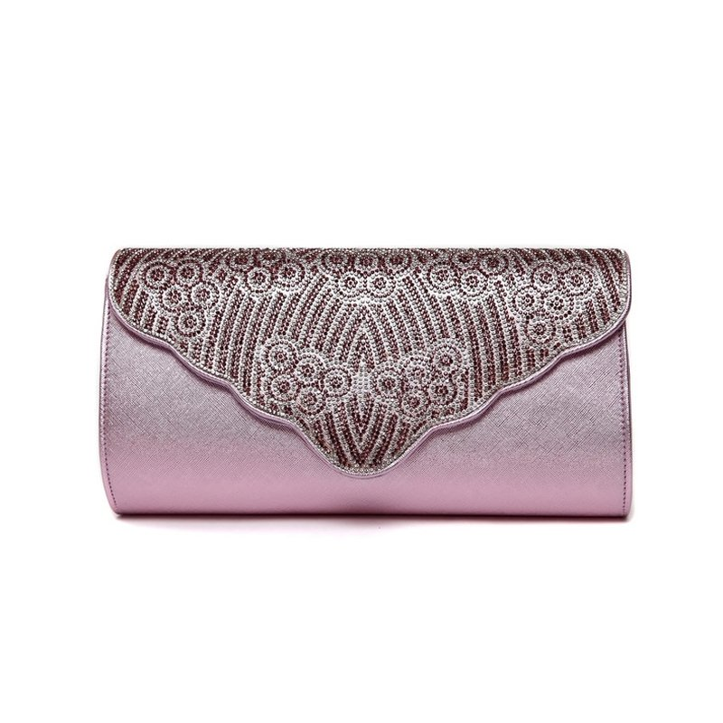 Lavender Pink Patent Leather Women Evening Party Flap Clutch Wallet Bohemian Sparkle Rhinestone Sewing Pattern Crossbody Shoulder Bag