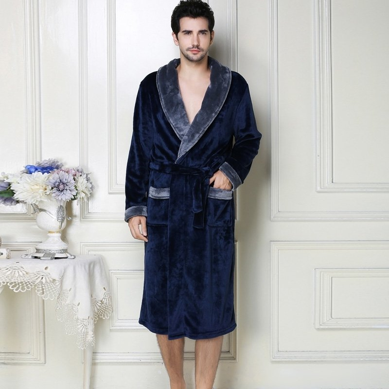 Solid Navy Flannel Wide-Lapel Bathrobe Night Robe Free Size Pajamas for Men