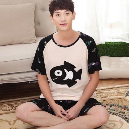 Grey Black Fish Print 2 Pieces Shirt Shorts 100% Cotton Summer Pajamas for Boys Men L XL XXL XXXL