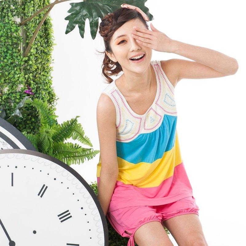 100% Cotton Knit Sleeveless Color Block 2pc Shirt Shorts Baggy Pajamas for Girls M L XL XXL