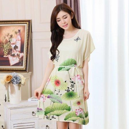 Light Yellow Green Flower Lotus Print Viscose Midi Dress Short Sleeve 1 Piece Pajamas for Elderly Women M L XL