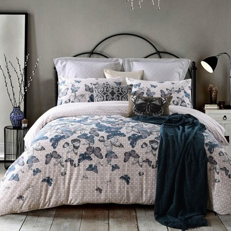 Slate Gray Khaki and White Vintage Butterfly Print Shabby Chic Old Fashion Reversible 100% Egyptian Cotton Full, Queen Size Bedding Sets