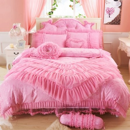Elegant Girls Shiny Pink Princess Style Ruffle Design Sequin Flower and Lace Edge Embroidered Full, Queen Size Bedding Sets