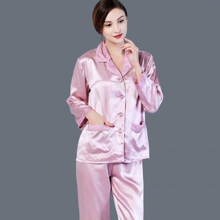 Plain Pale Purple Lapels with Flower Trim 2 Pieces 100% Pure Silk Open Collar Single-Breasted Pajamas M L XL