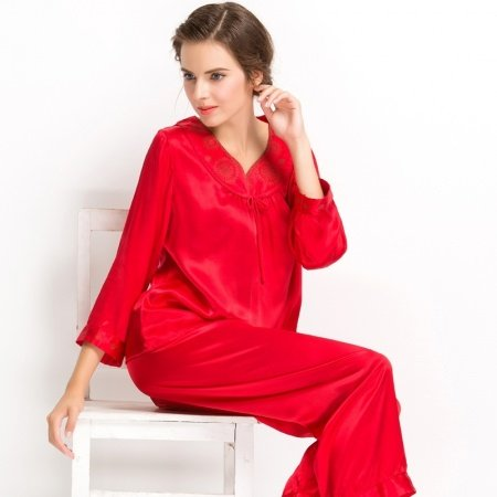 Ruddy Red 100% Real Silk 2 Pieces Long T-Shirt and Pants Noble Luxury Pajamas for Girls Ladies M L XL