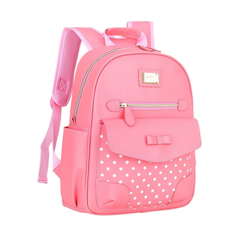 Coral Pink Patent Leather Cute Bow Girls Flap School Backpack Boutique Polka Dot Bottom Studded Gold Sequin Pupil Campus Book Bag