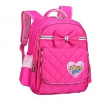 Lightweight Hot Pink Nylon Cute Bow Quilted Flap Campus Backpack Personalized Sewing Pattern with Heart Girls Preppy School Book Bag