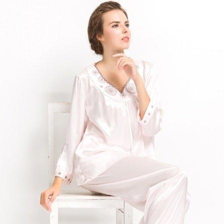 Plain Pink Purple Grey Embroidered V-neck 2pc 100% Pure Silk Luxury Elegant Spring Autumn Pajamas for Girls M L XL