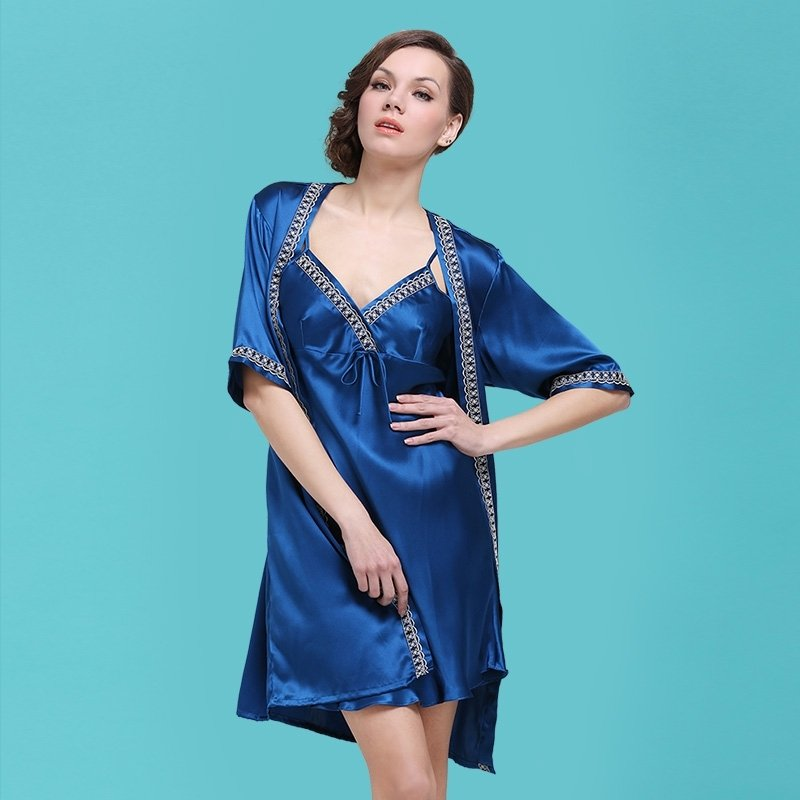 Yale Blue 100% Pure Silk Cami Dress and Robe 2pc Luxury Noble Pajamas for Women M L XL